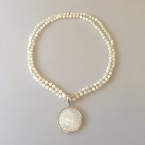 MOTHER OF PEARL SUN PENDANT STERLING NECKLACE